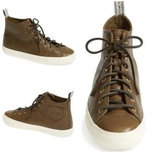 COACH Brown Leather Lace up Sneaker Ankle Boots 7B
